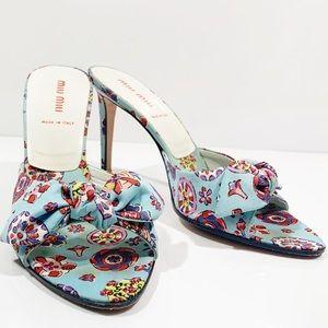 MIU MIU Floral Bow Slide Heels Silk Designer 7